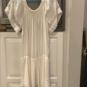 Ramy Brook White Silk Off the Shoulder Dress